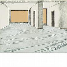Christo WRAPPED FLOORS, PROJECT FOR THE HAUS LANGE MUSEUM, KREFELD Color lithograph and collage of paper, cloth and staples