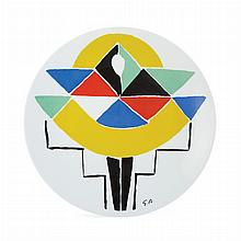 Sonia Delaunay CARNAVAL Painted and glazed Limoges porcelain plate