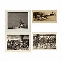 Kerr Eby ARTILLERY TRAIN; STUCK; WHERE DO WE GO?; THE LANTERN Etching, two lithographs and an etching and aquatint (4)