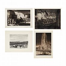 Kerr Eby NIGHT MARCH; INFANTRY, CHATEAU-THIERRY; CASSIONS GO ROLLING ALONG; SHADOWS Two lithographs and two etchings (4)