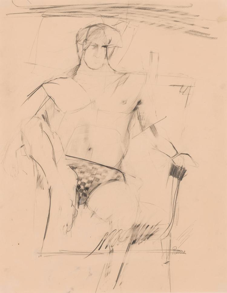 Larry Rivers American, 1923-2002 Man Wearing a Checkered Bathing Suit