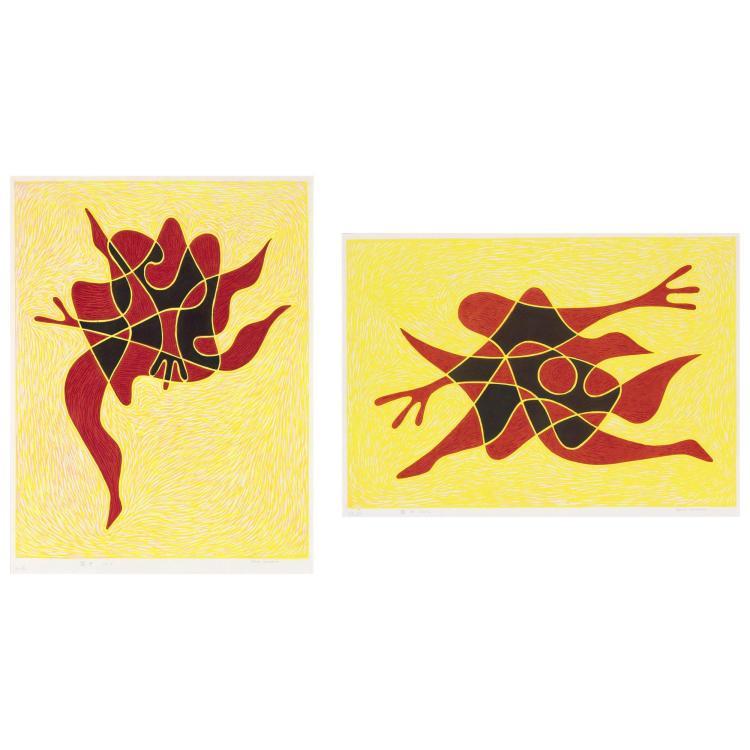 Takumi Shinagawa DANCE SONG NO. 5; DANCE SONG NO. 7 Two color woodcuts