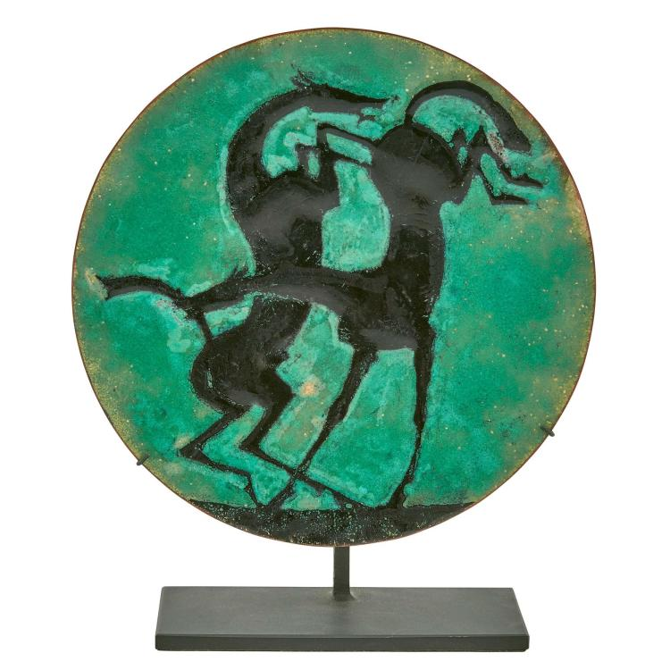 William Hunt Diederich Enamel on Copper Dish Depicting Two Horses