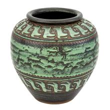 Émile Lenoble Art Deco Glazed Earthenware Vase Circa 1930 With stamp mark and incised #79. Height 9 3/8 inches...