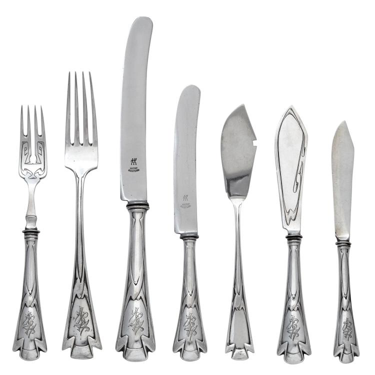 German Jugendstil Silver Flatware Service H. Meyen & Co., 1920s Comprising eleven dinner forks, ten fish fork...