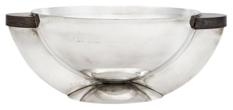Maison Desny Silver Plate and Ebony Two-Handled Centerpiece Bowl