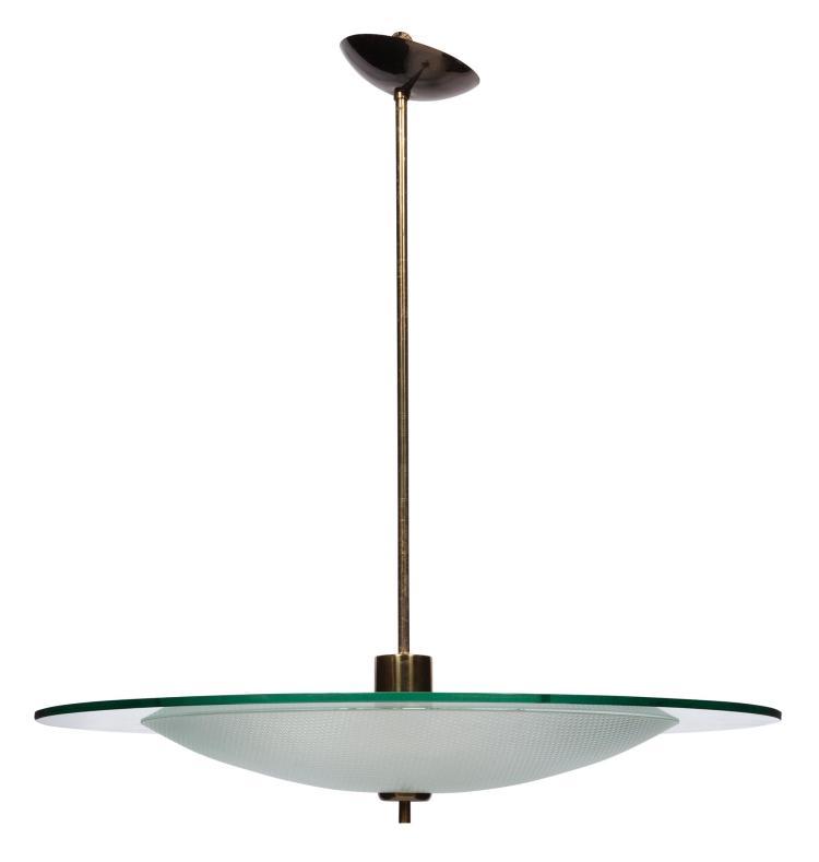 Gio Ponti and Pietro Chiesa for Fontana Arte Glass and Brass Suspension Light Circa 1935 Brass cap stamped F M...