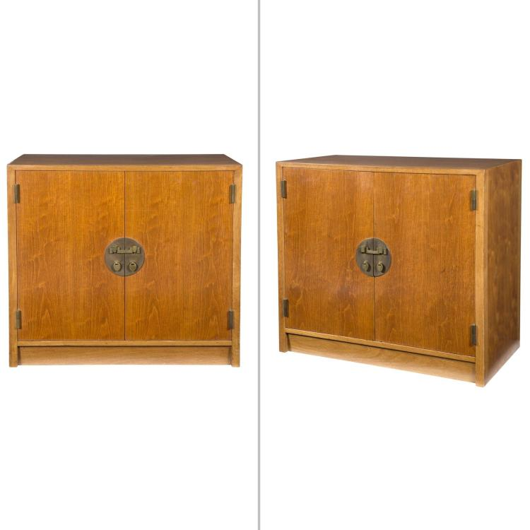 Pair of Edward Wormley Walnut Chinese Cabinets