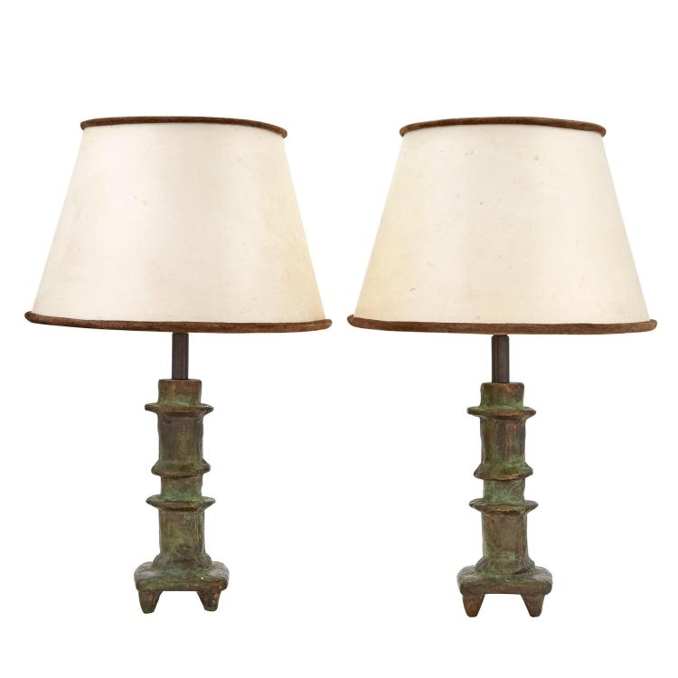 Pair of Diego Giacometti Green Patinated-Bronze Petit Bougeoir Lamps