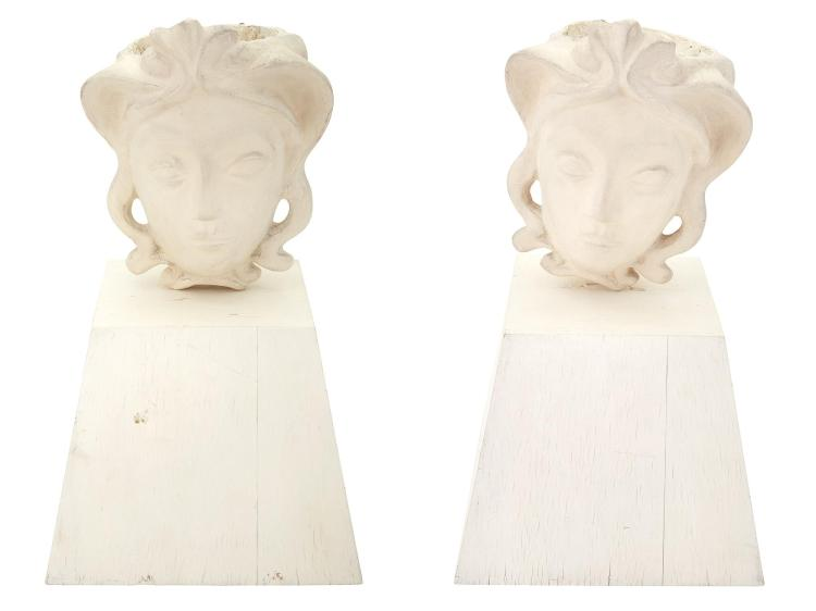 Pair of Alberto Giacometti for Jean-Michel Frank Plaster Masque Coiffure Up Lights Designed 1934 Each mounted o...