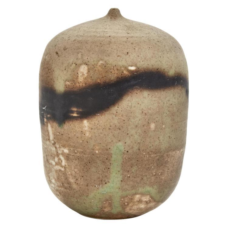 Toshiko Takaezu Glazed Stoneware Closed Form Moon Pot Vessel