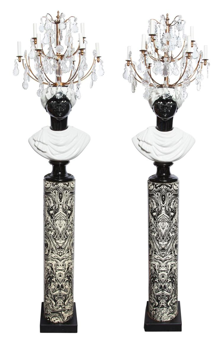 Pair of Piero Fornasetti Glazed Ceramic, Lithographically-Decorated Metal, Brass and Glass Busti Di Moro Floor Standing...