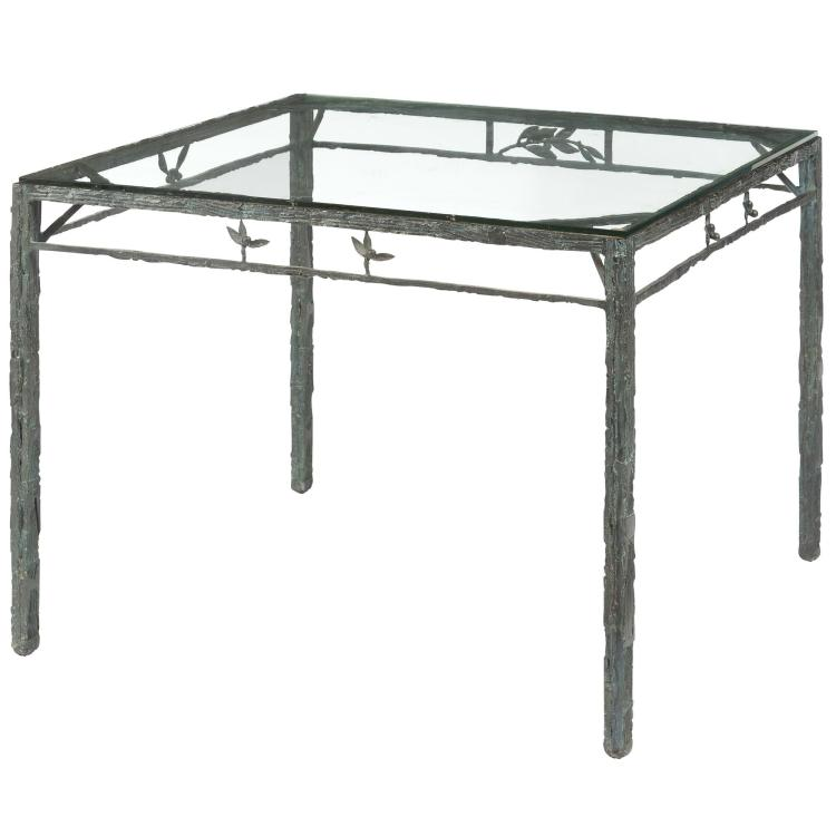 Louis Cane Patinated-Bronze and Glass Table à Jeux Classique Signed and numbered 7 from an edition of 8. He...