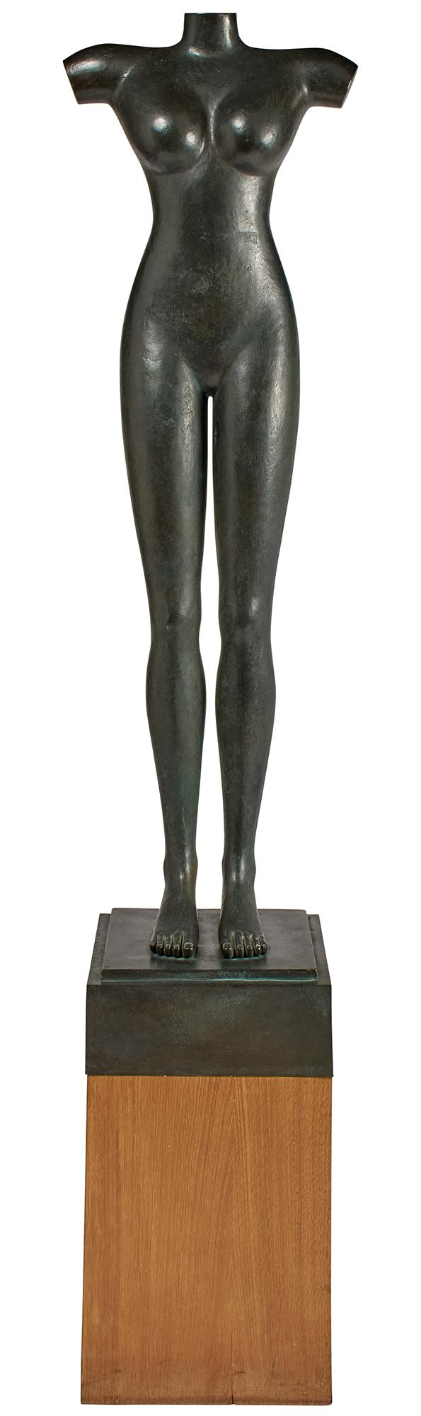 Louis Cane Patinated-Bronze Figure Venus SignedCane. Height of figure 51 1/2 inches, height overall 6 feet 1/2 inch.