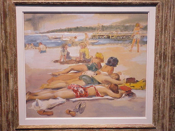 Harold (Hal) Longmore Burrows American, 1889 - 1965 SUNNING AT BAR BEACH Signed Hal Burrows (lr)