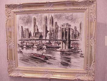 John Haymson American, 1902 - 1980 SKYLINE, BROOKLYN BRIDGE Signed (lr) Oil on canvas