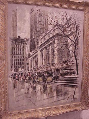John Haymson American, 1902 - 1980 PUBLIC LIBRARY, NEW YORK Signed (lr) Oil on canvas