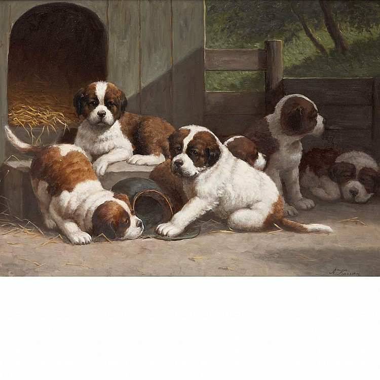 Anton Karssen Dutch, b. 1945 Puppies in the Pen