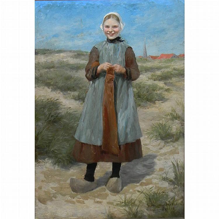 Julius Muller-Massdorf German, 1863-1933 Dutch Girl in a Field