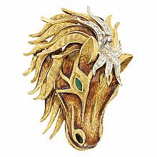 Gold, Enamel, Diamond and Emerald Horse Head Clip-Brooch, Hammerman Bros.