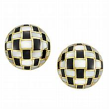Pair of Gold, Black Onyx and Mother-of-Pearl Earrings, Tiffany & Co.