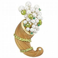 Gold, Carved Wood, Peridot, Emerald, Cultured Pearl and Diamond Cornucopia Clip-Brooch, Seaman Schepps