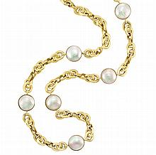 Long Gold and Mabe Pearl Chain Necklace