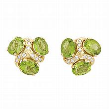 Pair of Gold, Peridot and Diamond Earclips, Verdura