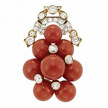 Gold, Oxblood Coral Bead and Diamond Clip-Brooch