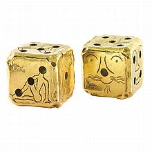 Pair of High Karat Gold Dice, Jean Mahie