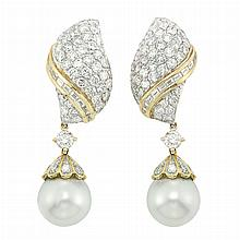 Pair of Two-Color Gold, Diamond and South Sea Cultured Pearl Pendant-Earclips