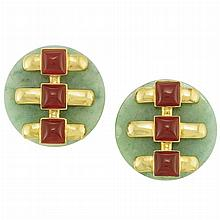 Pair of Gold, Jade and Carnelian Earclips, Cartier, Aldo Cipullo