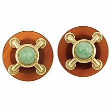 Pair of Gold, Carnelian and Jade Earclips, Cartier, Aldo Cipullo