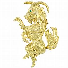 Gold and Cabochon Emerald Goat Clip-Brooch, David Webb