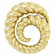 Hammered Gold Clip-Brooch, David Webb