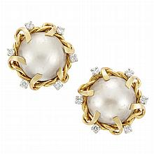 Pair of Gold, Platinum, Mabe Pearl and Diamond Earclips, France