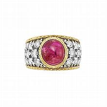 Two-Color Gold, Cabochon Ruby and Diamond Ring