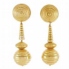 Pair of Gold Pendant-Earclips, Ilias Lalaounis