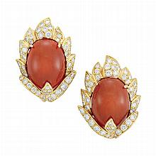 Pair of Gold, Oxblood Coral and Diamond Earclips, Vourakis