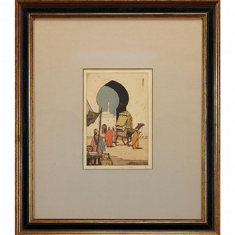 Edgar L. Pattison [MIDDLE EASTERN SCENE] Color etching