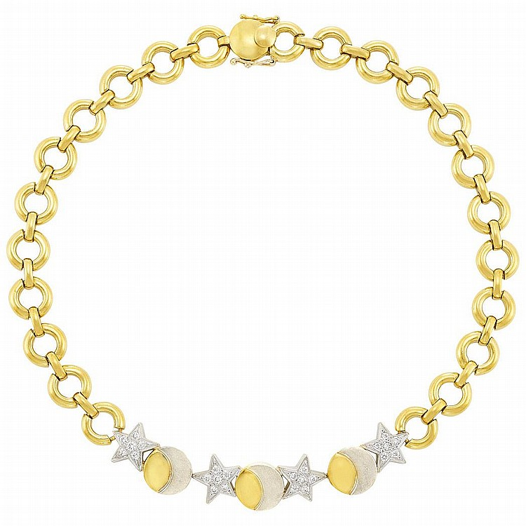 Two-Color Gold and Diamond Star and Moon Necklace