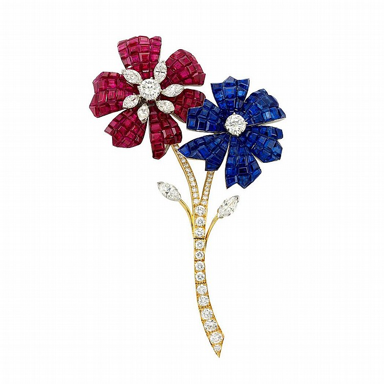 Platinum, Gold, Mystery-Set Ruby and Sapphire and Diamond Flower Clip-Brooch, Van Cleef & Arpels