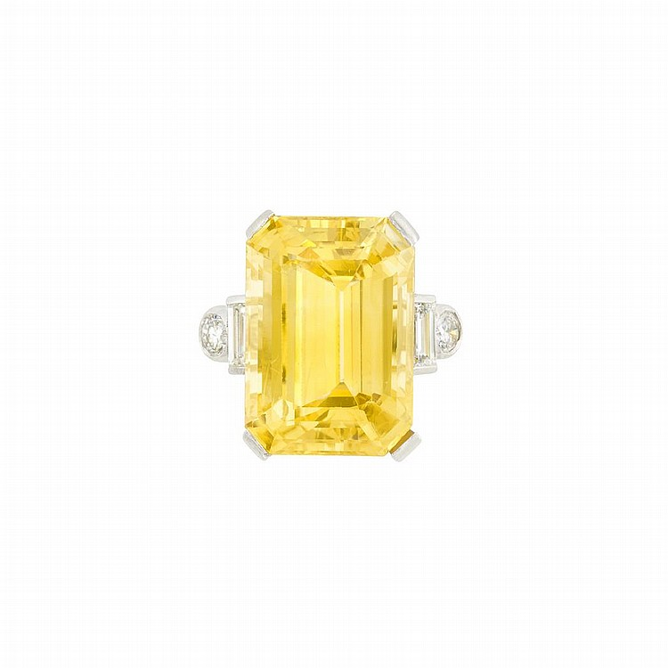 Platinum, Yellow Sapphire and Diamond Ring