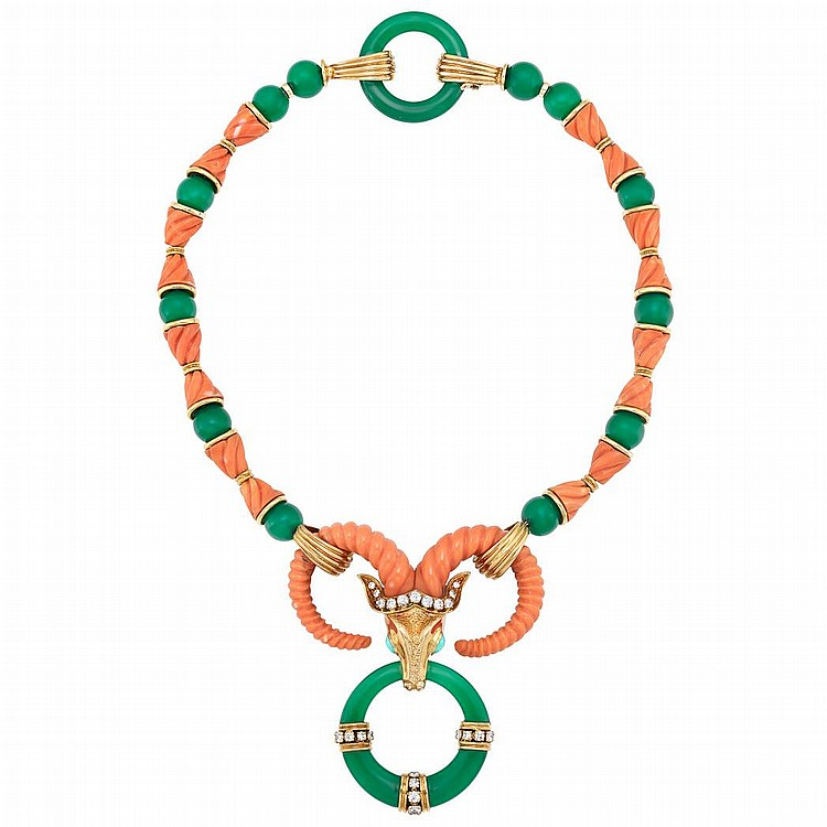 Gold, Fluted Coral, Green Onyx Bead, Diamond and Turquoise Necklace, Cartier