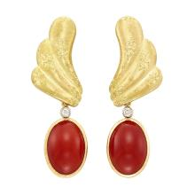 Pair of Gold and Oxblood Coral Pendant-Earclips, Mario Buccellati