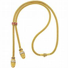Long Braided Gold, Ruby, Sapphire and Diamond Slide Necklace, Ilias Lalaounis