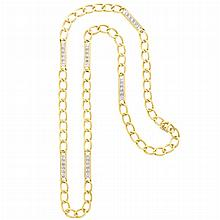 Long Two-Color Gold and Diamond Curb Link Chain Necklace