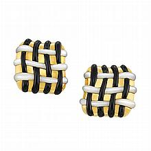 Pair of Gold, Mother-of-Pearl and Black Onyx Earclips, Angela Cummings