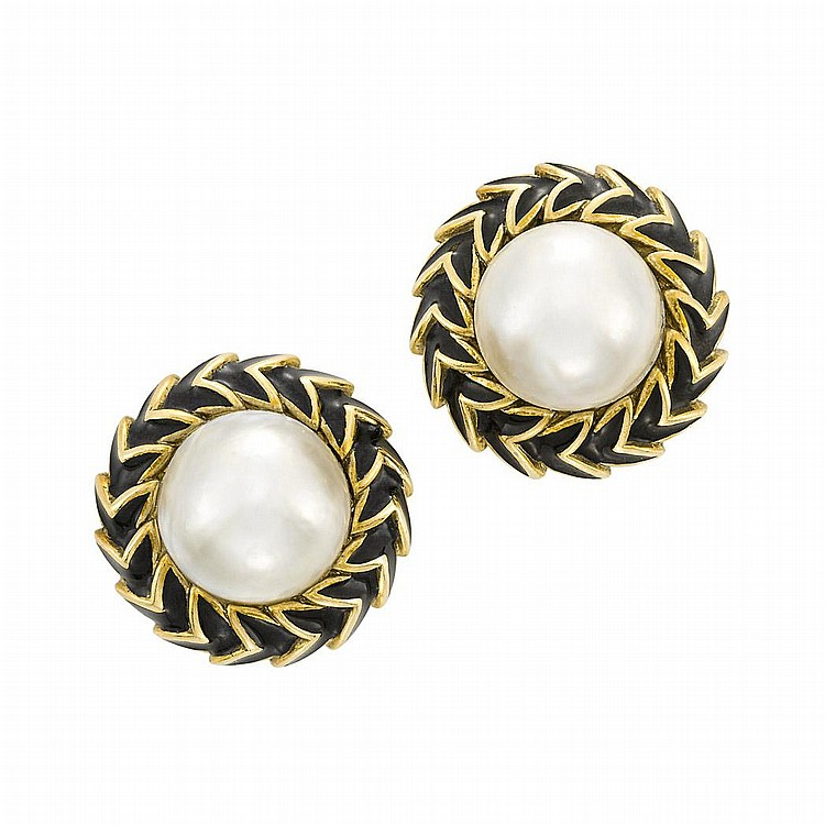 Pair of Gold, Mabe Pearl and Black Enamel Earclips, David Webb