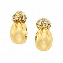 Pair of Gold and Diamond Hoop Earclips, Van Cleef & Arpels